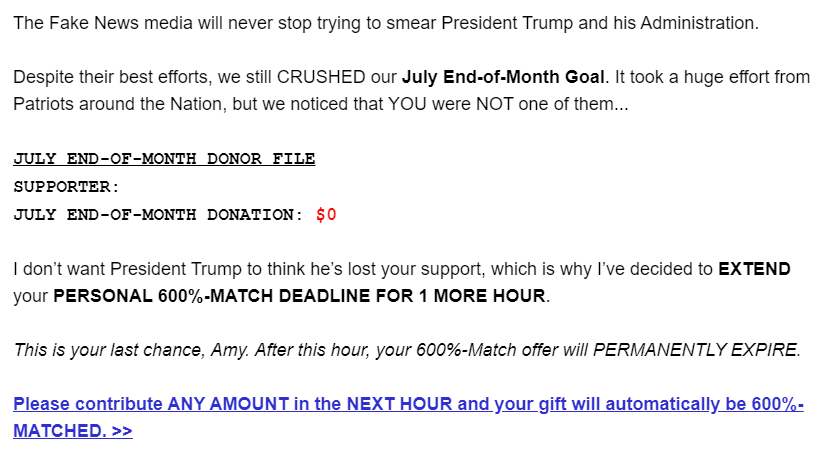 The Fake News media will never stop trying to smear President Trump and his Administration.  Despite their best efforts, we still CRUSHED our July End-of-Month Goal. It took a huge effort from Patriots around the Nation, but we noticed that YOU were NOT one of them...   JULY END-OF-MONTH DONOR FILE SUPPORTER:  JULY END-OF-MONTH DONATION: $0   I don't want President Trump to think he's lost your support, which is why I've decided to EXTEND your PERSONAL 600%-MATCH DEADLINE FOR 1 MORE HOUR.   This is your last chance, Amy. After this hour, your 600%-Match offer will PERMANENTLY EXPIRE.  Please contribute ANY AMOUNT in the NEXT HOUR and your gift will automatically be 600%-MATCHED. >>